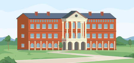 Campus of university building, college institution landscape scenery flat cartoon background. Vector town architecture bank or academy, high school institute. Retro library museum, green grass, trees
