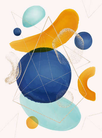 Abstract and geometric shapes on poster, brushes and gold glitter decoration. Wallpapers and background with circle and triangles. Minimalist contemporary cover design. realistic cartoon vector 矢量图像