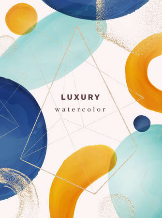 Typography cover modern design with geometric watercolor shapes and abstract brushes. Gold glitter texture on page, poster with fashionable style. Banner with triangle, realistic cartoon vector 矢量图像