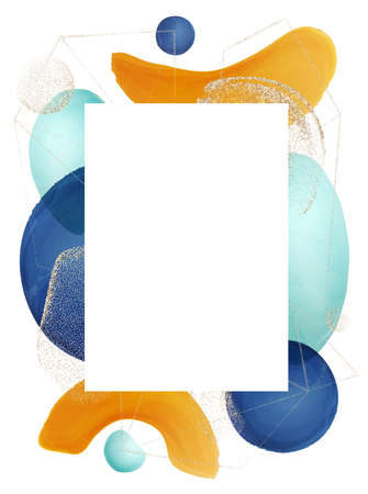 Watercolor brushes and abstract shapes, modern frame with copy space for text. Template, contemporary design of cover, minimalist paper with gold glittering. Brochure realistic cartoon vector 矢量图像