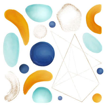 Watercolor shapes and brushes, geometric forms abstract design elements set for cover. Textures and decoration, triangle and circles, circles and lines gold glitter in realistic style cartoon vector