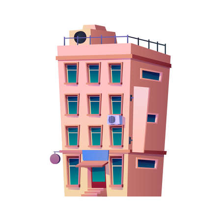 Modern apartments or residential house, contemporary architecture of town or city. Infrastructure and urban area, construction with windows and commercial center. Cartoon vector in flat style