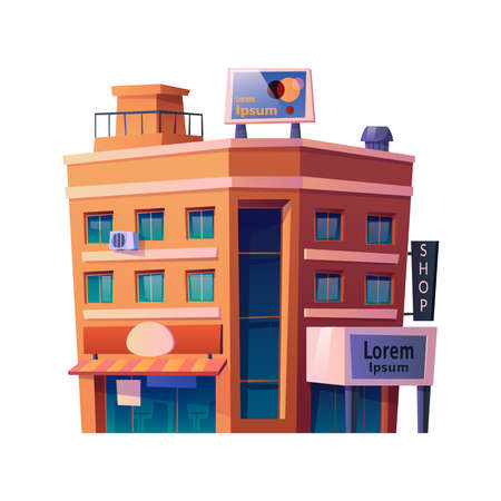Residence building with apartments for living with commercial center or shops at first floor. Urban landscape and space, stores and malls in redbrick construction. Cartoon vector in flat style