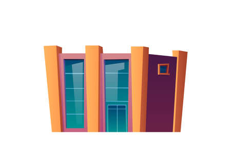 Mall or shopping center building, isolated construction of concrete and glass for big city infrastructure. Business district or metropolis, financial real estate. Cartoon vector in flat style