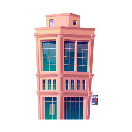 Business district or downtown architecture and buildings, isolated urban area or financial center. Exterior and facade of city or town construction with glass window. Cartoon vector in flat style