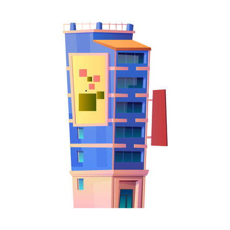 Modern architecture and buildings of contemporary city or town. Isolated building with apartments and balconies, accommodation or condominiums. Residence district. Cartoon vector in flat style