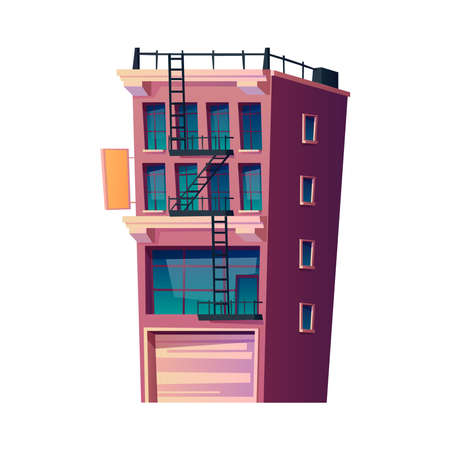 Apartments building in city or town, isolated building with evacuation ladder and windows. Condominium or real estate property, contemporary structure for living. Cartoon vector in flat style