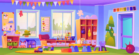 Interior of empty kindergarten classroom, room with toys and educational cubes. Education and obtaining knowledge for pupils, preschool learning and studying by games. Cartoon vector in flat style