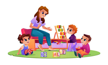 Children and kindergarten teacher at playground playing and studying. Kids listening to educator telling stories and explaining material. Boys and girl with toys. Cartoon character, vector in flat 矢量图像