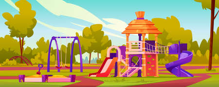 Children playground at yard of kindergarten. Garden with swings and slides for kids, sandbox with sand and toys. Leisure and activities for pupils, playing games. Cartoon vector in flat style