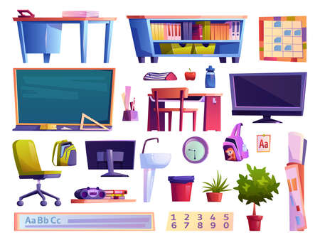 Furniture and gadgets, personal belongings of pupils, isolated school classroom elements. Table with books, tv set and magnetophone, decorative plants and food of students. Flat cartoon vector