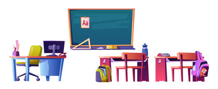 Blackboard with abc material, teacher table with personal computer and kids desks with satchels on chairs and books. Elementary school and education, getting knowledge. Cartoon vector in flat style