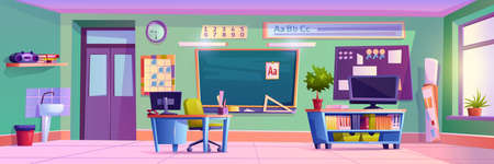 Elementary school classroom with furniture and decoration for kids. Modern interior with gadgets for lessons, basin and blackboard. Education and children studying. Cartoon vector in flat style