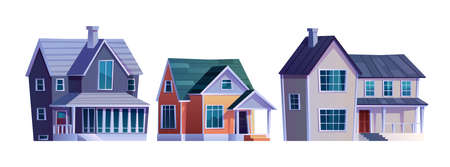 Set of houses with garage, homes country cottages, cartoon buildings isolated icons. Vector family home rural country condominium apartments for sale and rent, facade exterior of urban constructions
