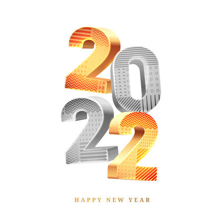 Happy New Year 2022 calendar design element in golden and silver colors isolated greeting cards decoration. Vector illustration digits and geometric patterns on white background. Chinese lunar holiday 矢量图像