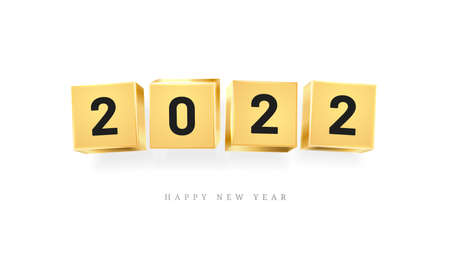 Happy New Year 2022 calendar design element golden cubes with numbers isolated greeting cards decoration. Vector illustration of chinese lunar holiday banner, Merry Christmas typography, event date 矢量图像