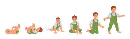 Baby boy development and growth, isolated kid from first day of life till 1 year. Healthy evolution of child. Newborn wearing diaper to toddler, walking infant. Flat cartoon character, vector