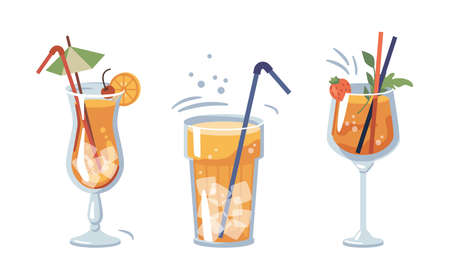 Alcoholic or non-alcoholic beverages served with ice and decorative straws and umbrellas. Drinks with strawberry and cherry, slice of orange. Bar or restaurant menu. Vector in flat cartoon style 矢量图像