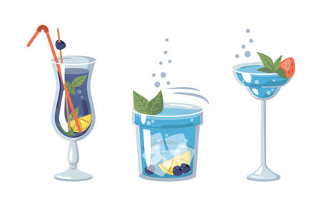 Alcoholic or non-alcoholic beverages of blue color, served with ice and pieces of fruits. Strawberry and mint, lemon and blackcurrant. Bar and pubs, clubs or restaurants. Vector in flat cartoon style 矢量图像