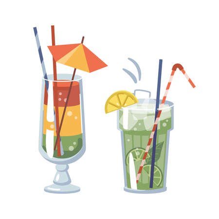 Cocktails served with ice and fruits, isolated glasses with decorative straws and umbrellas. Lime and lemon, mint and layered beverage. Alcoholic drinks in pub or bar. Vector in flat cartoon style