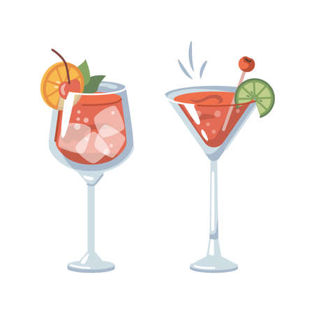 Alcoholic or non-alcoholic drinks with ice and slices of orange and lime. Margarita tasty beverage with cherry. Bloody marry in pub or bar, restaurant serving menu. Vector in flat cartoon style