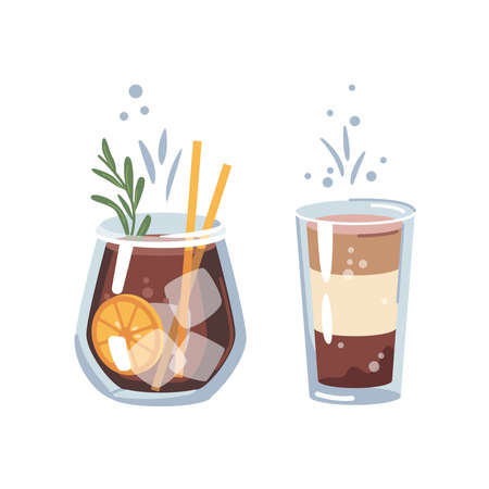 Tasty cocktail non-alcoholic beverage with liqueur and sweet flavour. Old fashioned whiskey with orange and ice cubes and rosemary. Bars and pubs menu and drinks. Vector in flat cartoon style 矢量图像