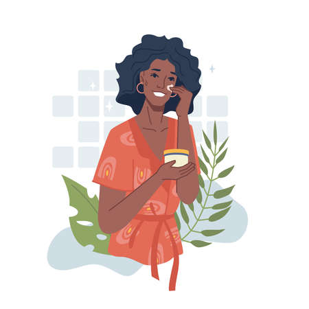 Afro american girl take care of face, apply cream or herbal essential oil. Vector black woman use natural organic cosmetics, skincare and facial massages, moisturizing and daily hygiene routine