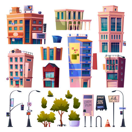 Megapolis streets and buildings elements, isolated apartments and residential houses. Road signs and lanterns, trees and traffic cones. Infrastructure and cityscape. Cartoon vector in flat style Çizim