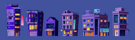 Business center, city buildings or financial district or downtown constructions at night. Infrastructure and structures illuminated in evening. Cityscape or skyline. Cartoon vector in flat style