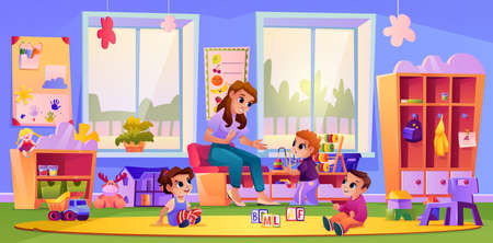Kids listening to teacher at kindergarten playground. Woman teaching children by playing games. Development and improvement of skills. Daycare or nanny. Cartoon character, vector in flat style