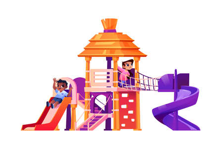 Playground or yard with slides and ladders for kids. Children playing together, fun and recreation, leisure and entertainment for infants or school pupils. Cartoon character, vector in flat style