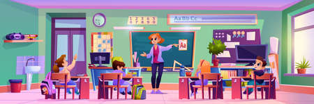 Classroom teacher and kids at lesson, woman explaining abc to kids sitting by desks. Academic education and studying, development and improvement of skills. Cartoon character, vector in flat style