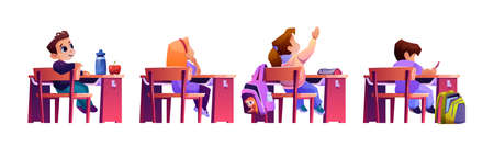 Children sitting by desks want to answer question at lesson. Isolated pupils at school raising hands, excited clever students by table. Knowledge and education. Cartoon character, vector in flat style