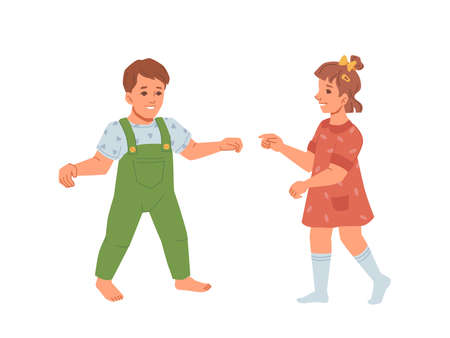 Baby boy and girl learning to walk, development and growth of kids. Toddlers wearing summer clothes exploring world, moving children. Happy childhood and innocence. Flat cartoon character, vector Çizim