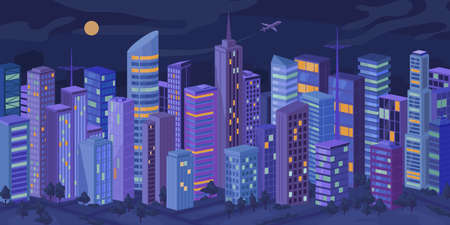 Downtown at night, facade exteriors of urban buildings with illuminated windows, cityscape at evening flat cartoon vector. Modern metropolis city panorama, skyscrapers, real estate houses landscape
