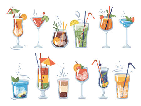 Beverages and drinks in bars and restaurants. Isolated cocktails alcoholic and non-alcoholic, glasses and decorative straws. Orange slices and strawberry pieces. Vector in flat cartoon style