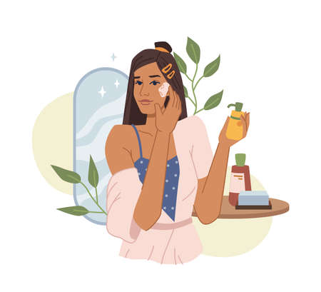 Young woman use essential cosmetics, natural cream or oil, cleans face skin flat cartoon vector illustration. Female apply anti aging korean cream, moisturize head. Table, plants, mirror on background