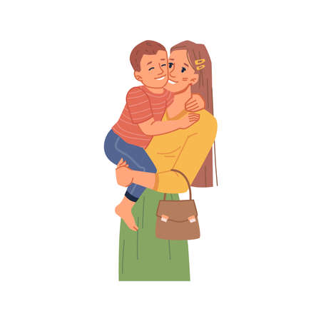 Female personage holding kid on hands, isolated mom with toddler son. Spending time and bonding, boy cuddling mommy. Childhood and parenthood, weekends family time. Flat cartoon character, vector Çizim