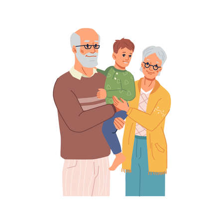 Happy family, grandparents spending time with grandson. Grandmother and grandfather senior people caring for small kid and cuddling boy. Childhood and parenthood. Flat cartoon character, vector Çizim