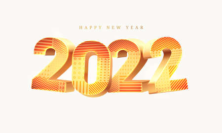 2022 New Year 3D vector illustration with golden digits and geometric pattern isolated on white background. Vector chinese lunar holiday celebration, greeting card design element. Traditional event Çizim