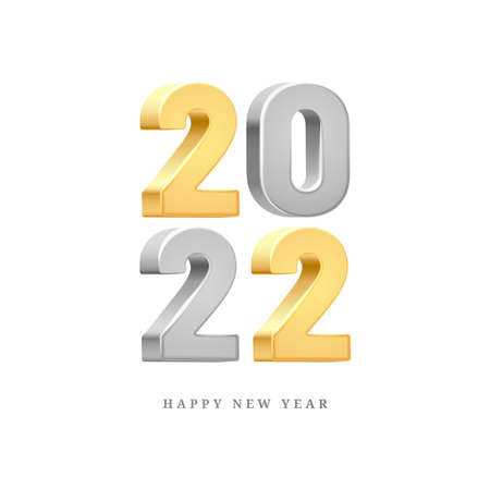 2022 Happy New Year silver and gold 3D vector text isolated on white background. Greeting card design element, 20 and 22 golden and grey 3D text, Merry Christmas invitation, calendar decor template
