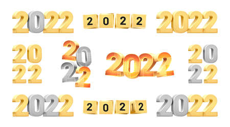 Happy New Year 2022 3D numbers set isolated calendar design elements in golden silver colors. Vector Merry Christmas greeting cards, digits and geometric patterns, gold cubes and data, lunar holiday