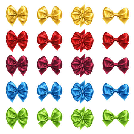 Set of isolated bow knots for gift decoration, satin bow-knots for present box or package adornment. Favor for new year or christmas, anniversary event and valentine day, wedding gift packaging