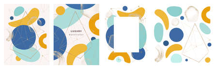 Frames and posters with abstract minimalist shapes, geometric decoration and watercolor style of forms. Modern banner with gold glitter and textures, covers collection, realistic cartoon vector Çizim