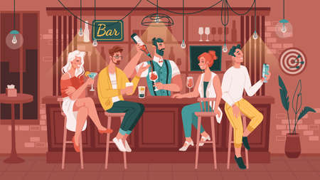 Friends hanging out in bar or pub drinking alcoholic drinks and talking. Men and women sitting by counter waiting for order made by bartender. Nightlife entertainment. Flat cartoon character vector Vector Illustration