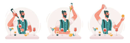 Skillful professional barman making cocktails and alcoholic drinks in bar or pub. Isolated virtuoso bartender with bottles and glasses, fruits and citrus. Flat cartoon character vector illustration 矢量图像