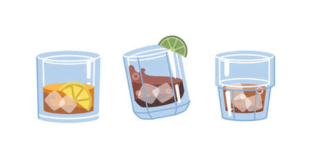 Glasses with strong alcoholic drinks, isolated cups filled with liquid and lime slice. Brandy or cognac, rum or scotch, bourbon or cognac. Pub or bar, restaurant of menu. Flat cartoon vector 矢量图像