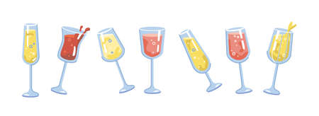 Drinks and cocktails in glasses, isolated alcoholic beverages set. Sparkling wine and fizzy bubbly champagne. Cheers and celebration, festivity and leisure. Flat cartoon vector illustration
