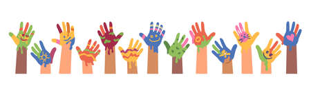 Children drawings and art, kid hands with colorful paints. Isolated banner of children art. Peace and positivity symbol. Imprint and trace, painters and artists. Flat cartoon vector illustration