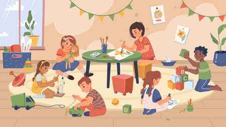 Playroom in kindergarten classroom, kids playing and studying in modern space. Education and development of skills of toddlers and preschoolers. Drawing and gaming. Flat cartoon character vector